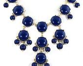 Navy Blue Bubble statement necklace