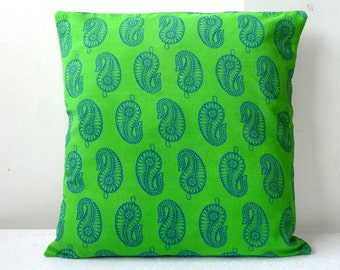 SALE- 10USD only Pillow cover in Indian Block Print Paisley on Bright Green Block Print cushion cover 16 x16 throw pillow