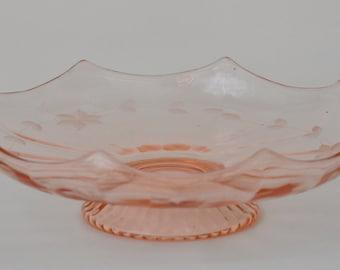 Pink Depression Glass Pedestal Bowl