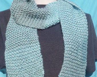Ultra Soft Winter Blue Knitted Scarf