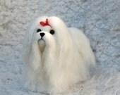 Needle Felted Maltese, Long Haired Malta Bichon, handmade animal - READY TO SHIP