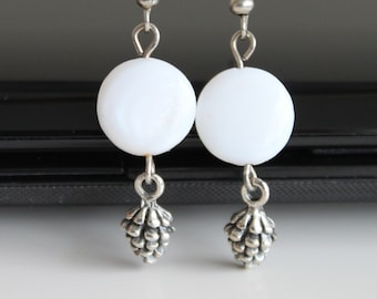 Antique silver pine cone earrings, mother of pearl long silver earrings, simple everyday jewelry