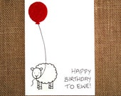 Happy Birthday Card 'Happy Birthday to Ewe'   A handmade greeting card