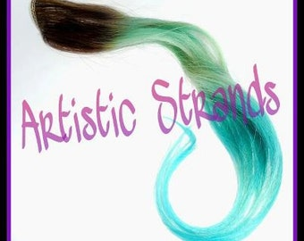 Mint and Turquoise / Dip Dyed / (4) Piece Accent Set / Real Remy Hair / Clip In's / Ombre