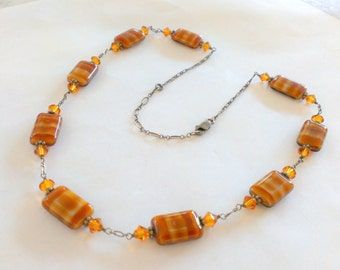 Sterling Silver Tiger Amber Swirl Chicklet Glass Beads