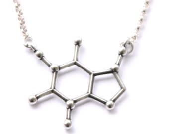 Caffeine Molecule Structure Necklace  FREE U. S.  Shipping (sent same business day) Science of caffeine necklace structure of caffeine
