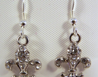 Clear Crystal Fleur de Lis Charms on Sterling Silver Ear Wire Dangle Earrings - 1778