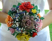 Victorian Multi Colored French Beaded Flower Bridal Bouquet