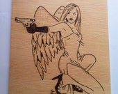 Wooden  pyrography with fire Angel woodburning wall art