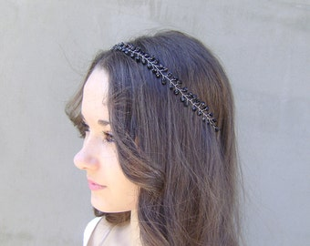 Black Crystal Tiara, Glass Crystal  Halo, Wedding Crown,  Headband, Gothic Wedding,head piece, special occasion accessory