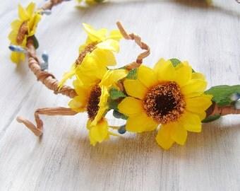 Sunflowers Crown, Autumn Harvest Crown, flower crown, flower tiara, yellow orange flowers hair accessory, woodland wedding, rustic,headpiece