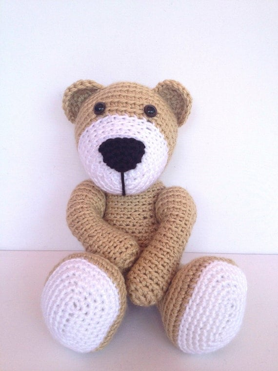 Crochet Bear/Teddy Bear Stuffed Animal in Brown and White