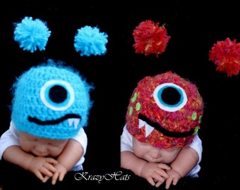 Crochet fuzzy monster hat.size:Made to order.Size Nb-4y.old