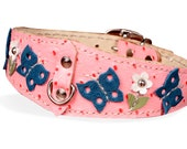 Leather Dog Collar-Pink with Butterflys-Made to Order