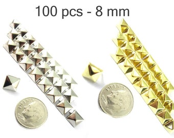 100 pcs - 5/16 inches (8 mm.) Nailheads Spots Pyramid Studs - 2 Prong (2 legs) Square Stud Spike - for DIY bag , shoes , on clothes fashion