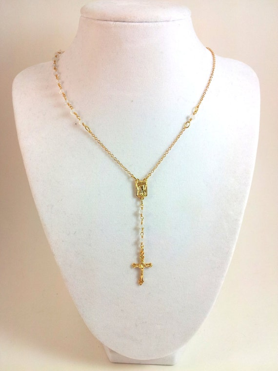 moonstone rosary necklace gold filled crucific cross women. Black Bedroom Furniture Sets. Home Design Ideas