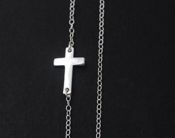 Sideways Cross necklace,  925 Sterling Silver Cross, Taylor Jacobson Horizontal Cross Necklace, Most popular items, Every day jewlery,