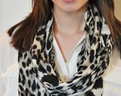 Black and Gray Knit Infinity Scarf
