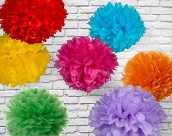 Tissue paper pom poms - Set of 7 - Rainbow party//Fiesta parties//Birthday's decor//Weddings//Decorations