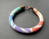 Colourful Rainbow Bracelet Bead Crochet Rope Green Blue Violet Pink Orange Ivory White Pastel Summer Perfect Mother's Day Gift