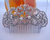 Wedding hair comb pearl Bridal hair accessory Rhinestone Wedding headpeice Bridal hair comb Wedding hair piece Bridal hair jewelry Wedding