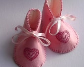 Heirloom Keepsake Hand Made Pink Embroidered Baby Booties