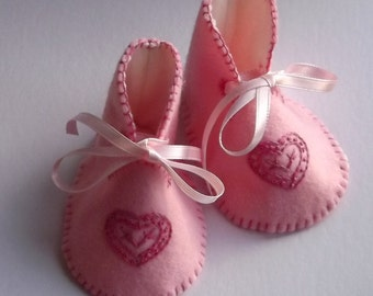 Baby Booties Pink Wool Felt Hand Made And Embroidered Heirloom Keepsake