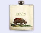 Flask, Personalized Custom Flask, rhino print flask