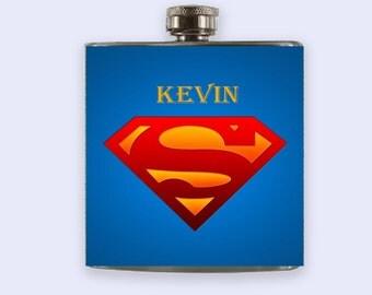 Superman Flask, Personalized Custom Flask,Superman flask