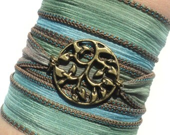 Bohemian Silk Wrap Bracelet Yoga Jewelry Tree of Life Earthy Mother Nature Etsy Gift For Her Birthday Unique Gift Under 50 Item Y145