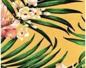 """Islands Fabric Palm Leaves and Wild Hibiscus Hawaiian Islands Foliage in Golden Yellow Outdoor Fabric 60"""" Wide By the Yard"""