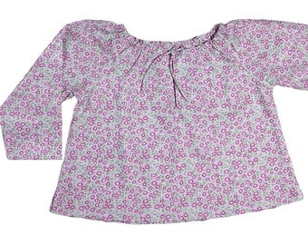 Girl's printed cotton blouse with flowers