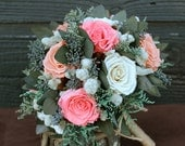 White, Pink and Peach Preserved Rose Bouquet, Rose Bouquet, Rose Bridal Bouquet, Wedding Bouquet, Cottage Chic Bouquet with Gray Foliage
