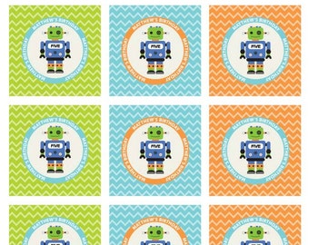 Robot Birthday Party, Favor Tags, Robot Label,  Cupcake Toppers, Party Circles, Robot Party Printable, Birthday Printable, Digital File