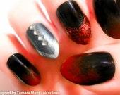 Stiletto Nails, Vampire Fake Nails, Stiletto 3D Nail Art, Black and Red, Ombre Nails, Gradient Nail Art, Press on Nails, Acrylic Nails