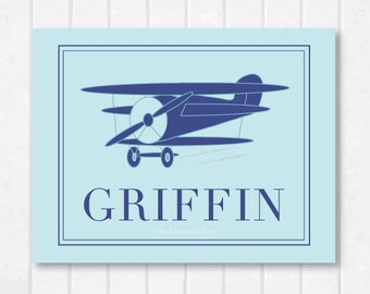 Flying High . Personalized Airplane Childrens Print