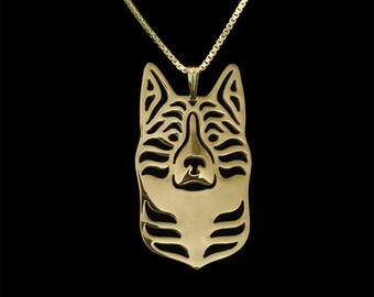 Karelian Bear Dog jewelry - Gold pendant and necklace.