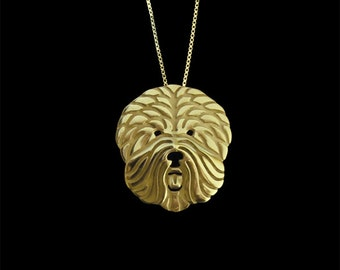 Old English Sheepdog - Gold pendant and necklace.