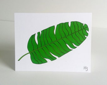 """Botanical Note Card -Banana Leaf Note Card with coordinating """"Wave"""" Lined Envelope"""
