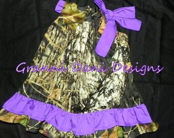 Mossy Oak double ruffle  purple baby girl 0 3 6 9 12 18 months 2t 3t 4t 5t pillowcase dress camo