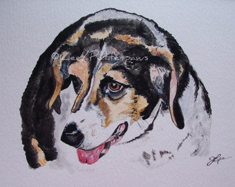 Watercolor Giclee 5x7 print of The Old Beagle Charity Animal Rescue