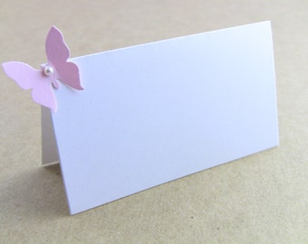 CUSTOMIZE ANY COLOR, 10 Wedding Place Cards, Pink Butterfly & Pearl, Showers, Birthday Party Place Cards, Name Printing Upgrade Possible