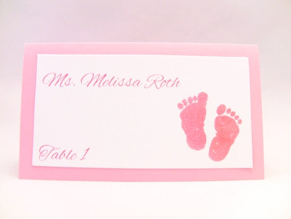 Rush Order 100 Baby Shower Place Cards Baby Feet Baby Girl