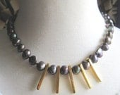 50% OFF 24-Carat Gold Dipped Spears with Large Blue Iridescent Freshwater Pearls Necklace