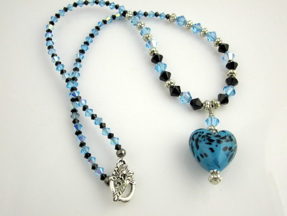 blue and black beaded necklace crystal necklace by ramonahall