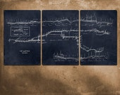 Vintage New York Subway Map Blueprint on METAL - 72x36""
