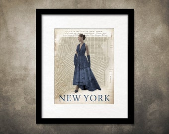 Fashion Model Wearing Map of New York Unframed Giclee