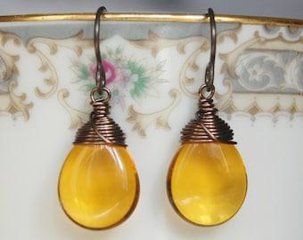 Topaz Earrings , Hypoallergenic Earrings , Golden Topaz Dangle Earrings , November Birthstone , Niobium Ear Wires