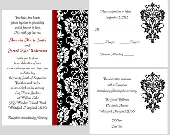 100 Personalized Custom Damask Wedding Invitations Set Any Color Stripe