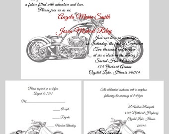 50 Personalized Custom Harley Davidson Motorcycle Wedding Invitations Set